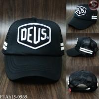 Embroidered cap Sponge mesh cap 2 black DEUS black with white back SNAPBACK adjustable side No. F1Ah15-0565.