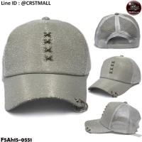 Silver mesh cap, mesh front, tie fashion rope, crocodile wing mesh cap, wing netting, tie loop, tie silver rope No.F5Ah15-0551