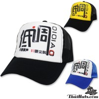 Snapback screen cap with Chinese design on back side. Available in 3 colors. No.F5Ah15-0163