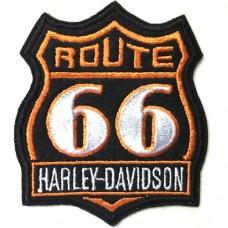 อาร์มปักลาย Harley Route 66  7x6 cm ติดเสื้อติดหมวก ติดสินค้าแฟชั่น งาน DIY เสื้อผ้า งานปักระเอียด No.F3Aa51-0007a041
