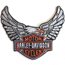 EMBROIDERED IRON ON HARLEY EAGLE WINGS Engine F3Aa51-0009