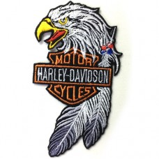 Harley-Davidson Eagle Embroidery Arm 10x5.5 cm. Attached to shirt attached to hat. Sticking fashion products, DIY work, clothes, embroidery details No.F3Aa51-0011a002