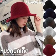 หมวกทรง LADY ผ้าถัก หมวกทรงสวยๆ ตกเเต่งด้วยโบว์ลายจุดน่ารักๆ NO. F5AH18-0178