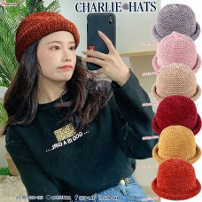 Winter hat Knitting wool hat Edge lining Lining Charlie style hat Roll edge No.F5Ah13-0033
