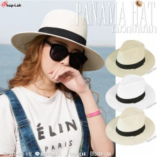 PANAMA Panama hat made of black ribbons, piped around the hat, classic style Pamana hat, No.F5Ah16-0104