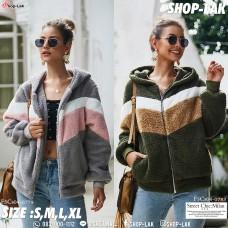 Women's long-sleeved hooded fur hoodie with hood front zip No.F5Cs04-0779