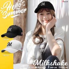 หมวกแก็ปต้อนรับซัมเมอร์สไตล์เกาหลี ปักลาย M  Milkshake  2สี ! No.F7Ah15-0144
