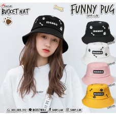 Bucket Hat Bone Embroidery Bucket Hat with Footprints Pug dog puppy, year of the frame, IDENGO No.F7Ah32-0131