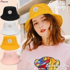 หมวกบักเก็ตต้อนรับซัมเมอร์สไตล์เกาหลี ปักลายเดซี่ Hello! Summer! No.F7Ah32-0140