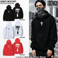 HOODIE flex hoodie sweatshirt with IDENGO Cross pattern. American style long-sleeved hoodie. No.F7Cs04-0242