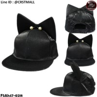 HipHop Cloth Cap HipHop hat, shiny black hat, cat earrings, shiny pearls No.F5Ah47-0218