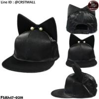 HipHop Cloth Cap HipHop hat, shiny black hat, cat earrings, shiny pearls No.F5Ah47-0218