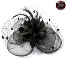 Hairpin with lace Hats, caps, hats, feathers Hats, caps, hats, hat, vintage, black No.F5Aa33-0004