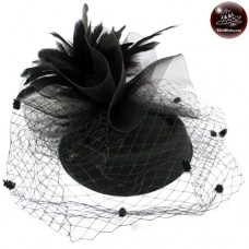 Air Hose Hat Hats, caps, hats, feathers Hair clipper hat black vintage hat No.F5Aa33-0002