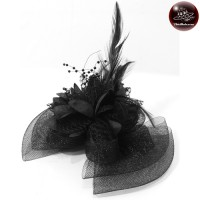 Lace bow with lace Hats, caps, hats, feathers Hats, caps, hats, caps, vintage, black No.F5Aa33-0008