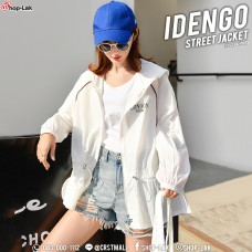 Long-sleeved jacket, light shade cloth, light-weighted fabric, LONDON striped hood, gauze Comfortable to wear, Iroda, No. No. F5Cs04-0695