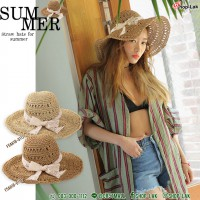 LADY Hat, Women Hat, Weave, Made of Natural Material, Wide Brim Hat, Stencil Ribbon No. F5Ah18-0113