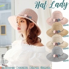 LADY hat, small wing lace, flannel rope, flower, wide-brimmed hat Decorated with flannel rope, bow tie flower NO. F5Ah18-0142