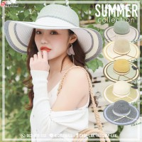 Women's Hat Wide-brimmed hat Decorated with two colors on the same leaf, perfect, look chic, NO. F5Ah18-0168