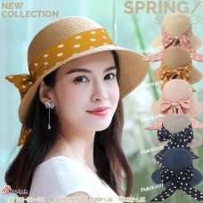 POLKA DOT BOW TIE HAT, CUTE, WOMAN'S CAP, STYLISH, LADY HAT, SMALL WING WEAVE, BOW TIE, POLKA DOT BEAUTIFUL STRAW HAT DECORATED WITH CUTE POLKA DOT BOW NO. F5AH18-0173