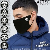 "Fashion Mask  Flex, glow. ""Aztec African mask Reflections in the Dark Aztec Style No. F7Ac25-0040"