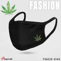 "Soft Mask Black with comfortable , Beautiful , style  ""WEED""  NO.F5Ac25-0146"