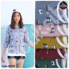 "Long sleeve shirt   Long Sleeve T-Shirt screen  "" Cartoon-cat ""   5 colors No.tsh-0272"