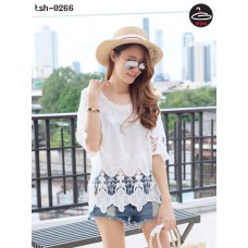 Korean lace shirt White lace Korean lace knit fabric with fabric flower fabric comfortably beautiful with something pretty. No.tsh-0266
