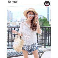 Korean lace shirt White lace Korean Lace Woven Fabrics for Men, Comfortable, Fabulous, Fits with anything, it's pretty freesize No.tsh-0267