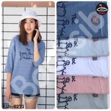 """Long sleeve shirt  Long sleeve t-shirt printed with letters """" NOT FROM PARIS MADAME """"  5 colors No.tsh-0271"""