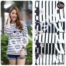 Long sleeve shirt   Long Sleeve V-Collar Shirt Sewing Bear Cute   5 Colors No.tsh-0284