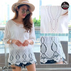 White lace dress Korean knitting lace pattern pattern drill drill chest comfortable fabric No.tsh-0286