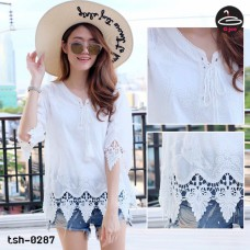 White lace shirt Korean style tie neckline. Woven Shirt No.tsh-0287  White lace shirt Korean style tie neckline. Woven Shirt