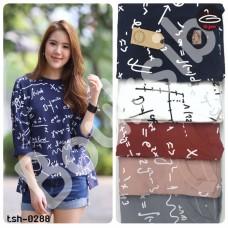 """Long sleeve shirt   Long Sleeve """" Geometric """" Short face long back  5 colors No.tsh-0288"""