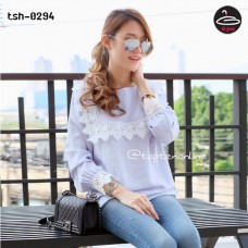 Long Sleeve Shirt with Blue Lace Collar Fabric is comfortable with the beautiful things No.tsh-0294. # Put out party # put out # put home # soft fabric comfortable