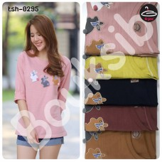 Korean fashion Long Sleeve T-Shirt  Long Sleeve Cotton T-Shirt RabBit Embroidery  No.tsh-0295  :F1Cs50-1392