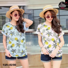 "Short Sleeve Shirt Freesize   Short Sleeve Shirt   "" Pineapple ""  2 colors No.tsh-0290"