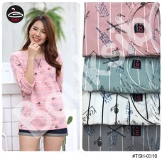 Korean fashion Long sleeve shirt Long Sleeve Stripe Long Sleeve Shirt with 4 Colors No.F1Cs50-1462