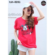 "Women's Short Sleeve Shirt   Short Sleeve Shirt Red  screen "" Mickey Mouse "" No.tsh-0281"