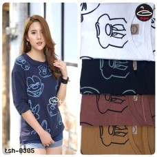 T-shirt pretty Korean fashion. Mickey Mouse Long Sleeve Shirt Soft and comfortable with 4 colors No.F1Cs50-1438