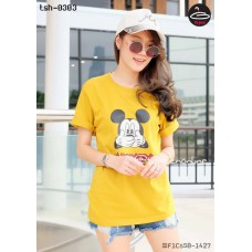 Yellow fashion ladies shirt Women's Short Sleeve T-Shirt Short Sleeve Mickey Mouse No.F1Cs50-1427