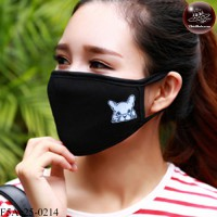 Black fabric Korean black fabric fashion. Black Nose Black glove with blue dog Soft texture with soft filter inside. No.F5Ac25-0214