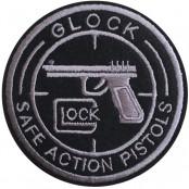 อาร์มปักลาย GLOCK ปืน วงกลม /Size 7*7cm ติดเสื้อติดหมวก ติดสินค้าแฟชั่น งาน DIY เสื้อผ้า งานปักระเอียด No.P7Aa52-0432