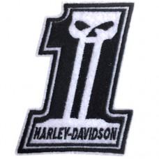 อาร์มปักลาย HARLEY เลข1 หัวกะโหลกPunisher/Size 8*6cm ติดเสื้อติดหมวก ติดสินค้าแฟชั่น งาน DIY เสื้อผ้า งานปักระเอียด No.P7Aa52-0435