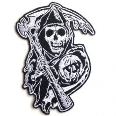 อาร์มปักลาย son of anarchy ป้ายเล็ก /Size 10*7cm ติดเสื้อติดหมวก ติดสินค้าแฟชั่น งาน DIY เสื้อผ้า งานปักระเอียด No.P7Aa52-0436