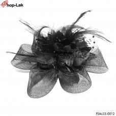 Mesh flower hairpin, feathered, pendulum + pendulum Hair clip Hairpin Hat Mesh Hat Hair Stick Vintage Black No.F5Aa33-0012