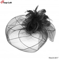 Large mesh hair clip, rose roll pattern + feather Hairpin Hat Mesh Hat Hair Stick Vintage Black No.F5Aa33-0017