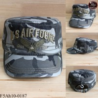 JAPAN military style hat with embroidered pattern U.S.AIR FOCRE camouflage cap. The back is adjustable seat belt No.F5Ah10-0187.