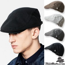 Hentai hat, dark hat, black cap, vintage hat, flat cap, flat cap fashion model H605, side belt Adjustable side. There are 4 colors.