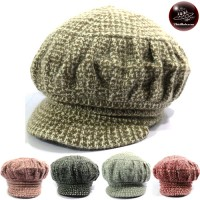 2-colored knit hat with winged hat Pumpkin Shape Freesize No.009